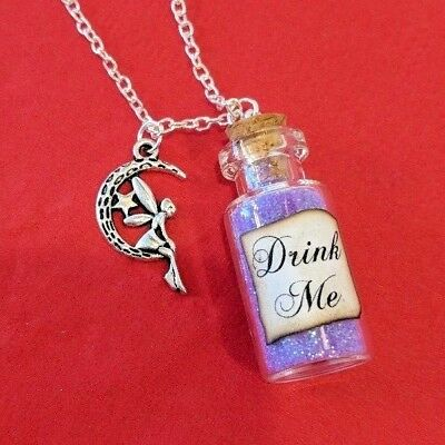 Fairy in the Moon Silver Necklace Pendant w/