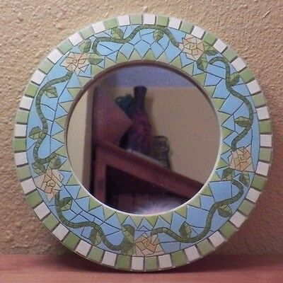 "Decorative Resin Painted Mosaic Wall Mirror 10"" Diameter with Hanger EUC"