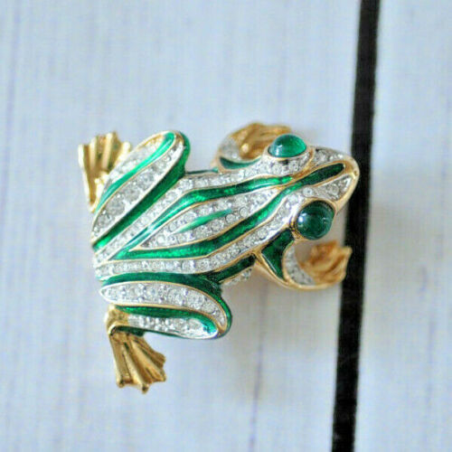 Carolee large vintage green clear rhinestone pave frog brooch pin gold tone