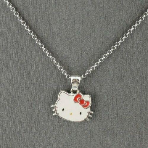 HELLO KITTY JCM Sterling Silver Red White Enamel Pendant & Necklace Adj