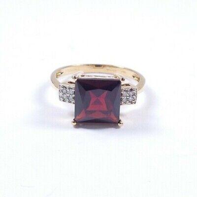 Garnet Diamond  ring 9 carat gold vintage size N1/2 2.4g