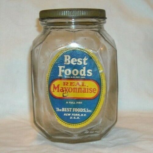 VINTAGE BEST FOODS REAL MAYONNAISE GLASS PINT JAR PATENT 80918