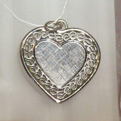 Heart Charm Pendant Blank Engravable Florentine Filigree Solid Sterling Silver