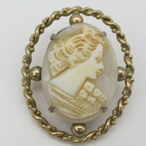 Vtg White Carved Shell Cameo Gold Tone Brooch Pin