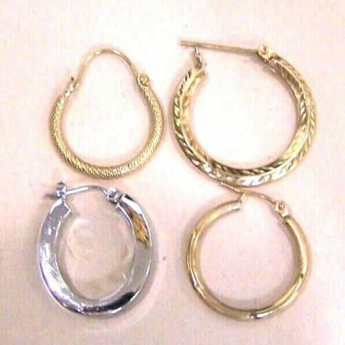 Lot 0f 4 Solid 14K Yellow -(3) White -(1) Gold Single Unpaired Hoops 3 Grams