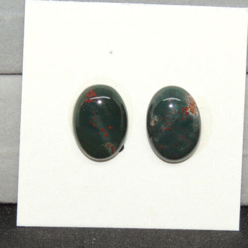 Bloodstone Cabochon 10x14mm with 5mm dome from India set of 2 (13812)