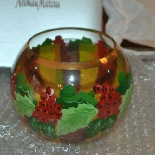 MacKenzie-Childs Windsor Glass Bowl 4x5, Frank & Mustard Holiday NIB/Older