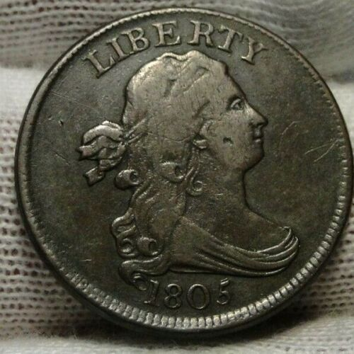 1805 Draped Bust Half Cent, Nice Coin, Free Shipping  (8921)