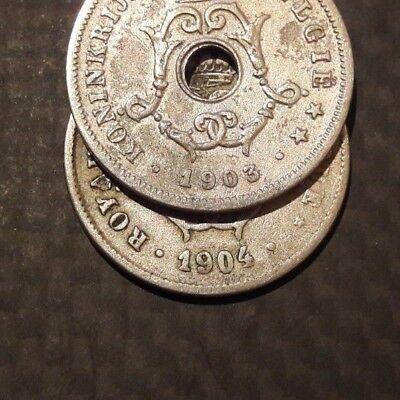 Belgique, Leopold II 10 Centimes 1903 rare Petit chiffre klein figuur Belgïe