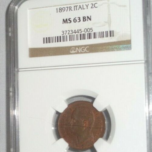 1897R 2C ITALY Two Centesimi Coin NGC MS 63 BN Brown Mint State Uncirculated