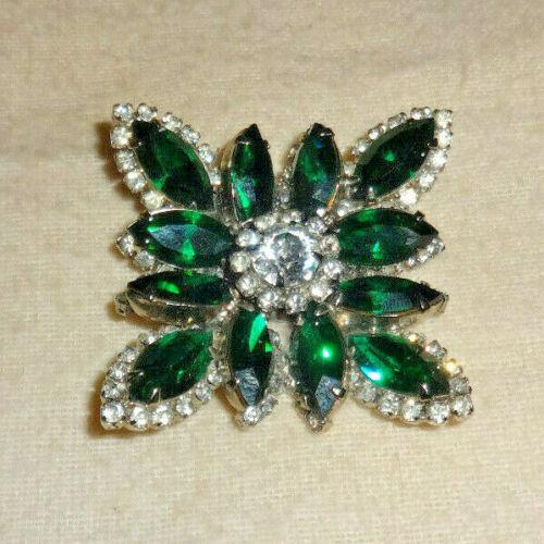 REGENCY Emerald Green & Clear Rhinestone Brooch Pin Signed