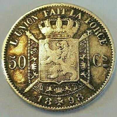 ===>>> 50 centimes 1898 50 cents  Leopold II  Belgique Belgïe FR Zeldzaam <<<===