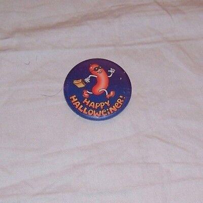 HALLMARK  HOT DOG WEINER 1983 HALLOWEEN PINBACK TRICK /TREAT