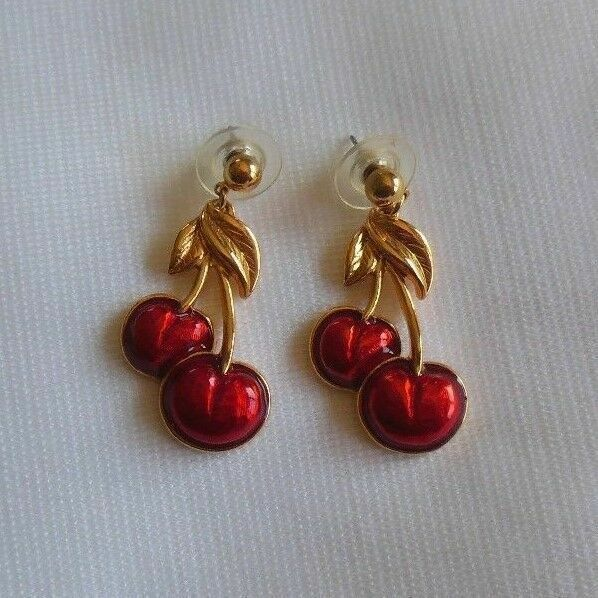 Vintage Avon Gold Tone Red Enamel Cherry Pierced Earrings
