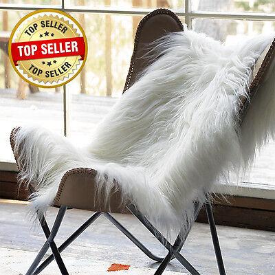 Genuine Icelandic Sheepskin Rug Throw – white-ivory Long soft wool 2 X - Sheepskin Rug