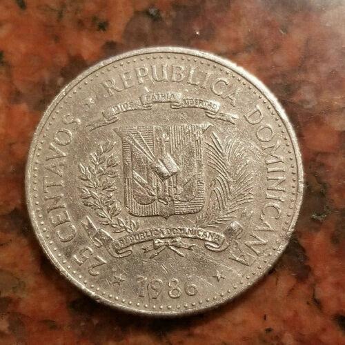 1986 DOMINICAN REPUBLIC 25 CENTAVOS COIN - #9261