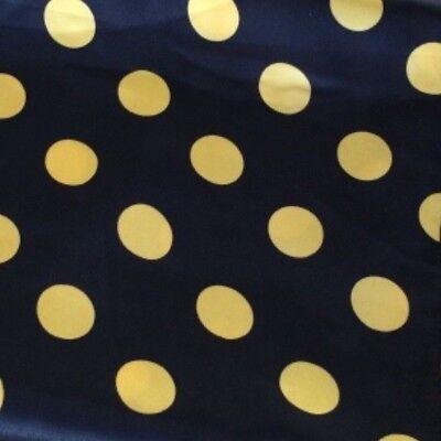 te, schwarz mit gelben Punkten. Reststück ! (Polyester Satin)