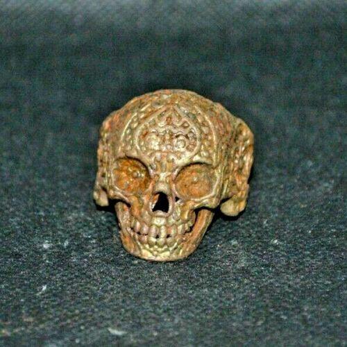 Very Rare Unique Antique Viking Memento Mori Bronze Ring Skull Runic Ornament