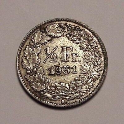 1/2 Franc Suisse 1951 Argent Switzerland Silver