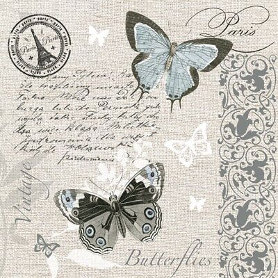 4 Lunch Paper Napkins for Decoupage Craft Vintage Napkin  Harmony Butterflies G