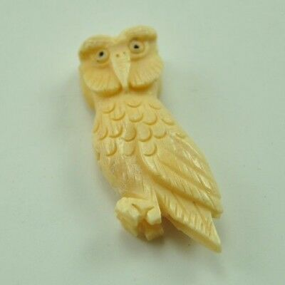 Vintage Oriental Buffalo Bone Carved Bead Hand Carved Charm Pendent Owl Bird