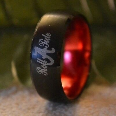 ALABAMA ROLL TIDE 8mm Black & Red Color Dome Tungsten Carbide Ring sizes 7 & 9 - Roll Tide Colors