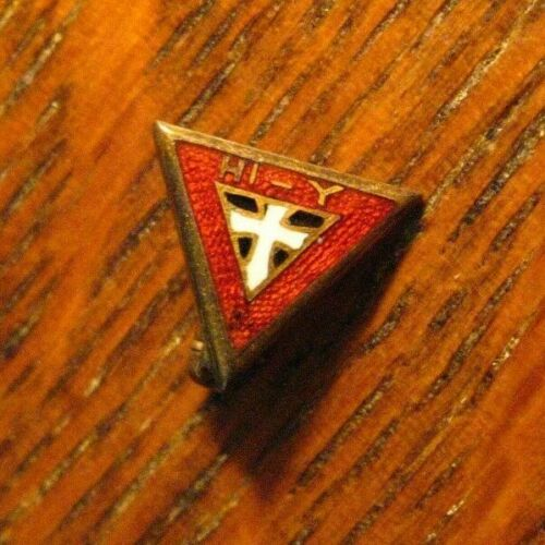 Hi-Y Boys Club Lapel Pin - Vintage YMCA Hi Y High School Gold Enamel Badge Pin