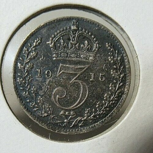 1915 Great Britain Silver UNC. Coin, 3 Pence, King George V