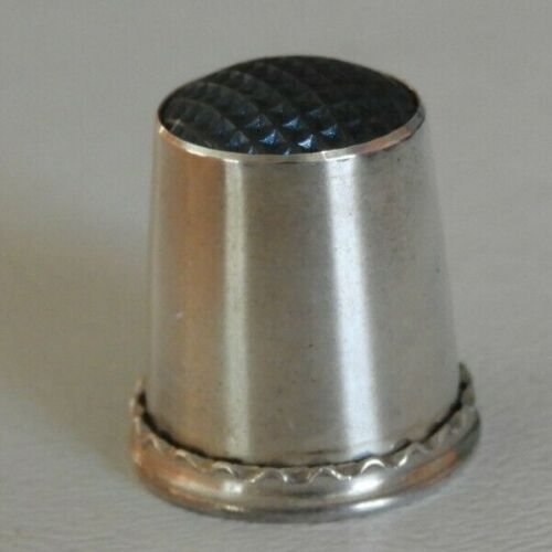 Sterling Silver Thimble K & EC Carlson CO. Sweden Sterling Blue on Dome #350