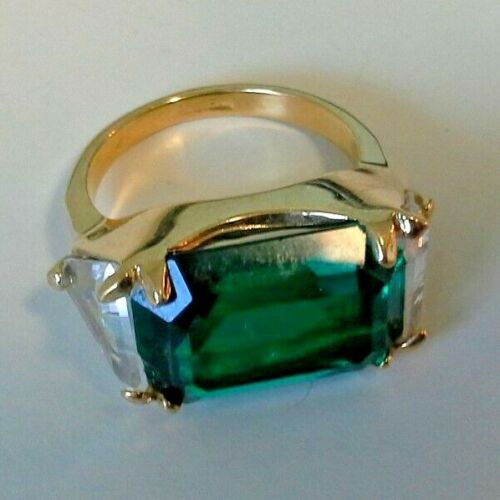 Vintage Green & Clear Stone Ring Size 7 Signed 18K HGF Statement