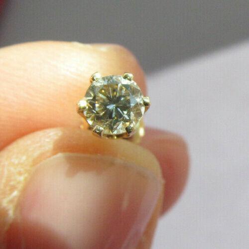 "VINTAGE 14K YELLOW GOLD ROUND DIAMOND STUD ""SINGLE"" PIERCED EARRING VS1 .50ct"