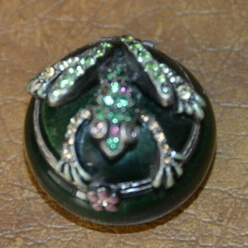 RARE JAY STRONGWATER GREEN JUNGLE FROG CRYSTAL ENAMEL COVERED TRINKET PILL BOX