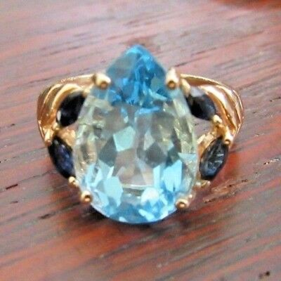 Pear Shaped Sapphire (Estate 3 carat Pear Shaped BLUE TOPAZ 14K Yellow GOLD w/ Sapphire Accents)