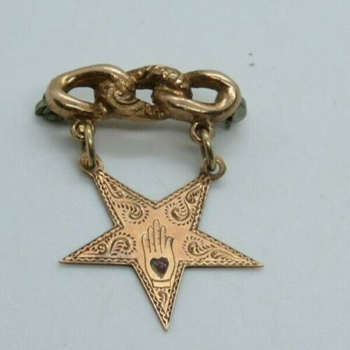 Vintage Odd Fellows 10K Gold Pin Jewelry Star Hand Engraved Dated  (875E)
