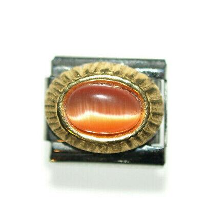 Cat Eye Orange - Charm Italian Charms fits Nomination  classic size bracelet