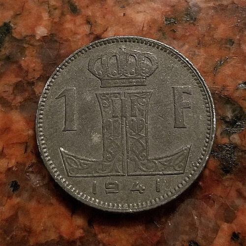 1941 BELGIUM 1 FRANC COIN - WW2 ERA ZINC - (BELGIQUE-BELGIE VARIETY) - #5169