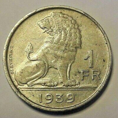 1 Franc 1939 Belgique 1 Frank Belgïe SUP Leopold III Wynants