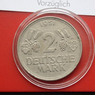 "Germany-Deutschland: 2 Mark 1951-J, ""Ähren u. Trauben"", KM#111, #F1862, COA"