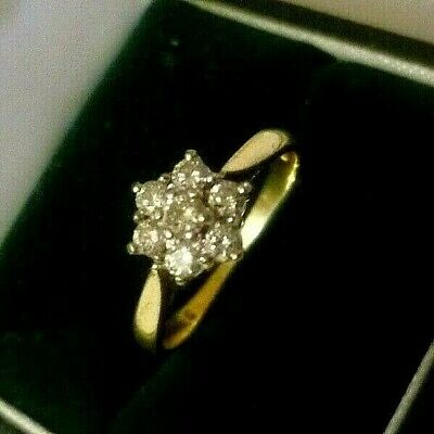 18CT YELLOW GOLD 0.35CT DIAMOND FLOWER CLUSTER RING N ENGAGEMENT, SNOWFLAKE 3.2g