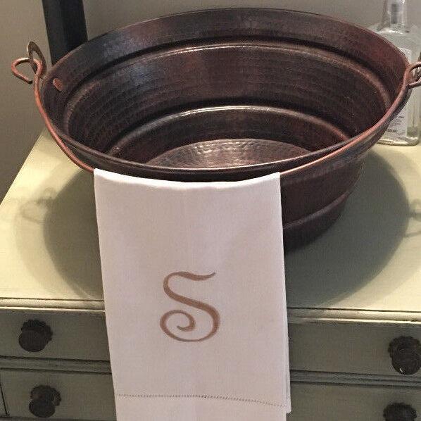 "15"" Round Copper BUCKET Vessel Vanity Sink with Handle"