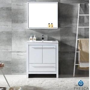 "NEW FRESCA 30"" ALLIER VANITY COMBO - 110168728 - WHITE GLOSSY CABINET, VANITY TOP AND MIRROR - BATH BATHROOM FURNITUR..."
