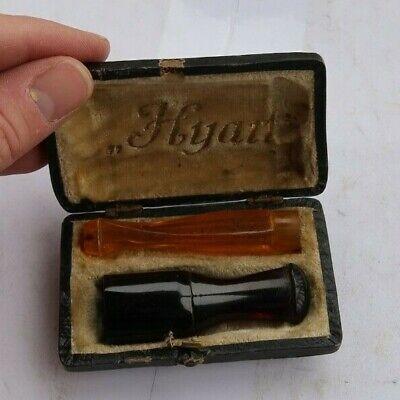 RARE Vintage Antique Hyan Cigar & Cigarette Holder SET & Case Orange Ruby LOOK
