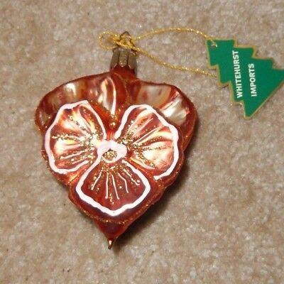 Christmas Ornament Shapes (HEART SHAPED ORANGE PANSY GLASS CHRISTMAS ORNAMENT WHITEHURST)
