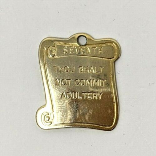 VTG Seventh Commandment Thou Shalt Not Commit Adultery Metal Gold Tone Charm M21