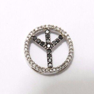 10k White Gold Womens Black Color Enhanced Diamond Peace Sign Circle Pendant
