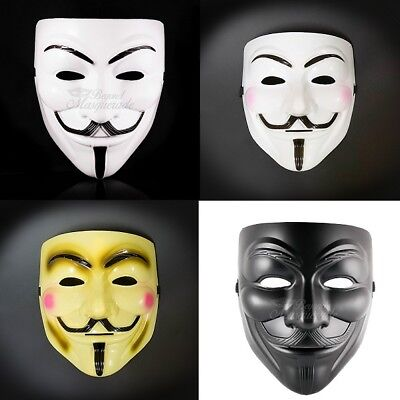 (1) V for Vendetta Masquerade Costume Halloween Guy Fawkes Mask for Men - Halloween Masks For Men