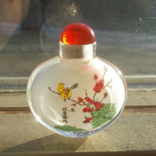 VINTAGE JAPANESE OR CHINESE GLASS SNUFF BOTTLE PAINTED BIRDS ON INSIDE SURFACE