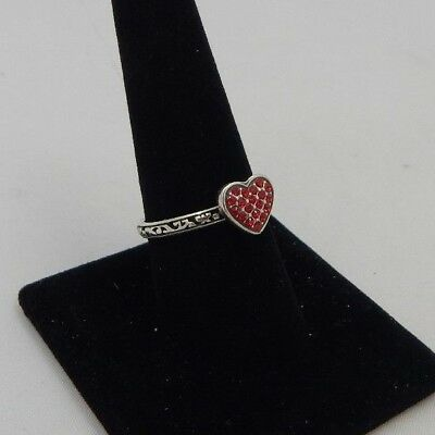 Brighton Red ROCK ROMANCE Heart Stack Swarovski Crystal Ring Size 9 NWT