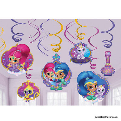 Shimmer and Shine Party Swirl Value Pack Supplies Decoration Ceiling Danglers 12