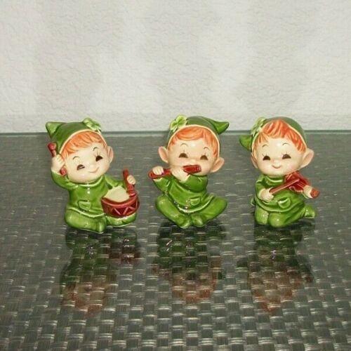 3 Irish Elf Pixie Musician Figurines St. Patrick